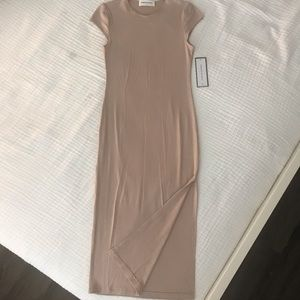 Nude ribbed midi dress NWT!